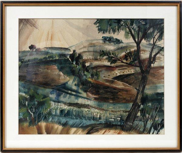 022023: ZOLTAN SEPESHY WATERCOLOR, 1932, LANDSCAPE