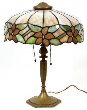 American Slag Glass & Patinated Metal Lamp C. 1920