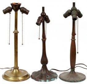 Patinated Metal Lamp Bases C. 1920 Three