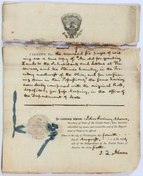 State John Quincy Adams Signed Land Grant Document