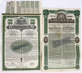 Czechoslovakia & Hungarian State Loans Of 1922&1924