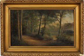 Oil On Board Woods By Lake
