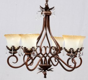 Patinated Metal & Glass Chandelier