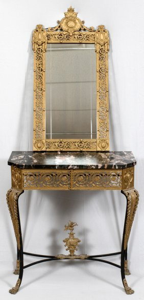 Wrought Iron Brass Marble Top Console & Mirror