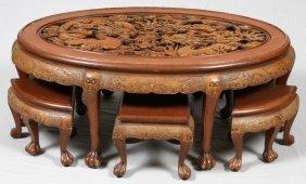 Carved Teakwood Coffee Table & Stools 7 Pieces