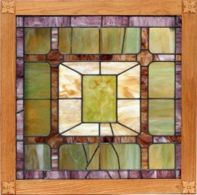 Leaded And Stained Glass Panel