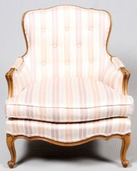 French Provincial Style Upholstered Walnut Chair