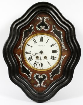 French Ebony And Mother Of Pearl Wall Clock