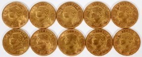 Swiss Franc Gold Coins 10 Pcs.