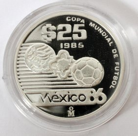 Mexican Sterling Silver 25 Paso Proof Coin 1986