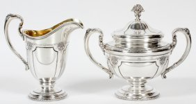 Towle 'louis Xiv' Sterling Creamer & Sugar Bowl