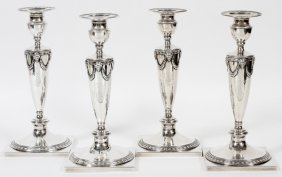 Theodore B. Starr Sterling Candlesticks Set Of 4
