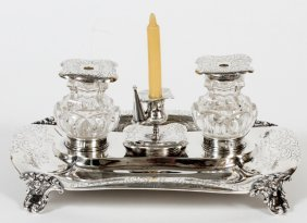 Victorian Sterling Double Inkstand By Hayne &carter