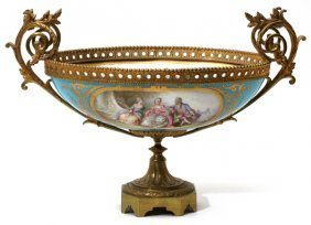 Sevres Style Porcelain & Bronze Mounted Centerpiece