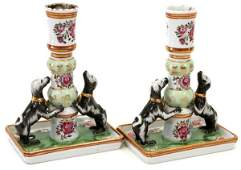 FRENCH PORCELAIN CANDLESTICKS EARLY 20TH C. PAIR