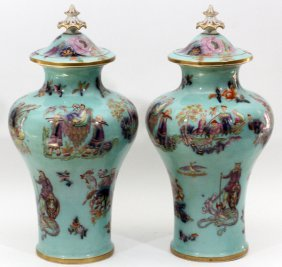 English Porcelain Covered Urns Late 19th C. Pair
