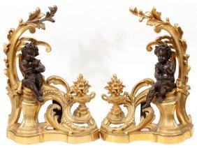 French D'ore & Patinated Bronze Figural Chenets