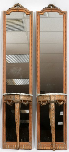 French Carved Walnut Mirrored Consoles