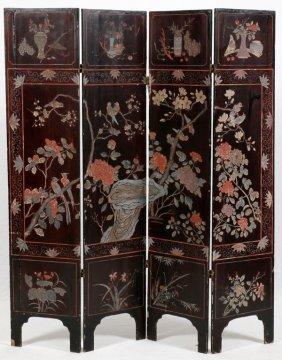 Chinese Coromandel Four-panel Screen
