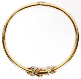 Italian 14kt Gold, Sapphire, Diamond Necklace