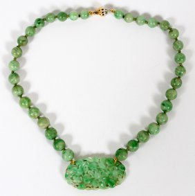 Chinese Natural Jade Bead & Yellow Gold Necklace