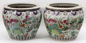 Chinese Porcelain Planters Pair