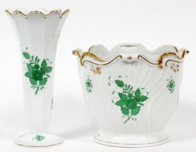 Herend 'chinese Bouquet-green' Porcelain Vase