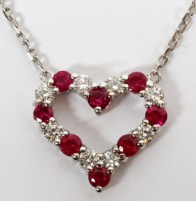 .76ct Natural Ruby & .42ct Diamond Heart Necklace