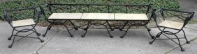 Cast Iron Bench & Chairs Three Pieces