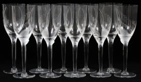 Lalique 'ange' Clear & Frosted Glass Champagnes Ten