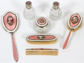 Austrian Guilloche Enamel & Crystal Dresser Set