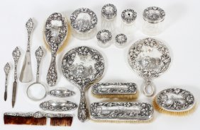 Foster & Bailey Sterling Dresser Set C.1900