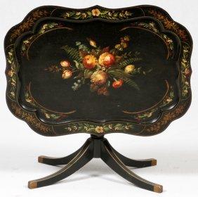 Hand-painted Wood Tilt-top Coffee Table