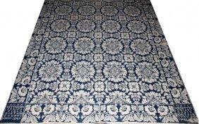 American Blue & White Jacquard Coverlet