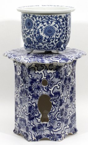 Blue & White Porcelain Planter & Stand