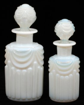 French Opalescent White Glass Cologne Bottles, Two