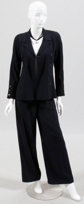 Chanel Boutique Navy Wool Pant Suit Three Pieces