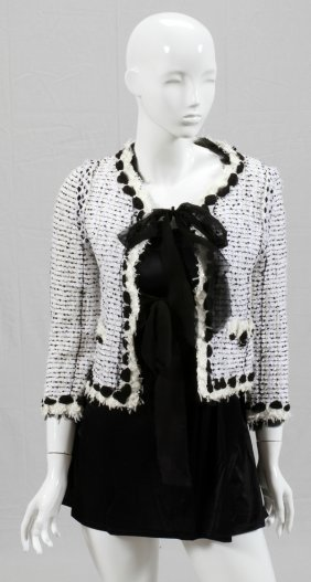 CHANEL WHITE TWEED JACKET W/ BLACK SILK RIBBON