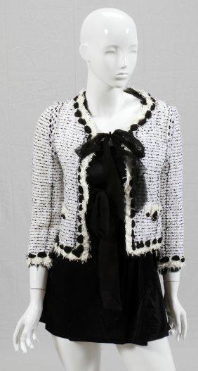 Chanel White Tweed Jacket W/ Black Silk Ribbon