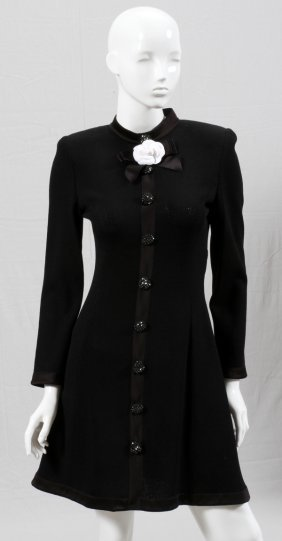St. John Evening By Marie Sweater Dress W/silk Trim
