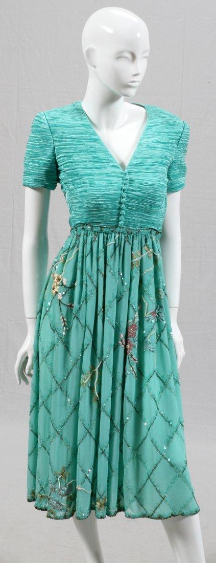 MARY MCFADDEN COUTURE AQUA & BEADED EVENING DRESS