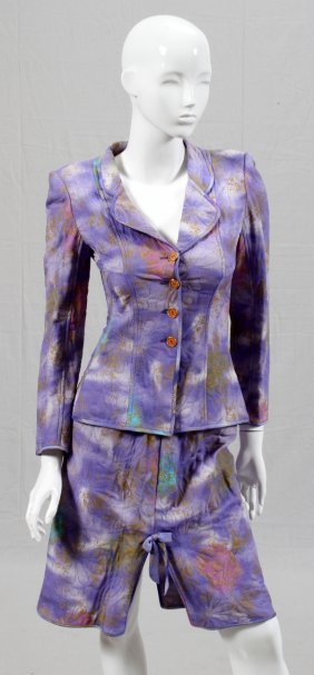 Emanuel Ungaro Pastel Silk Blend Skirt Suit