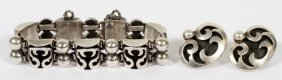 Victoria Sterling Bracelet & Pair Of Earclips Taxco
