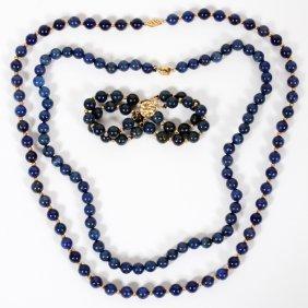 Lapis Lazuli & 14kt Gold Bead Necklaces & Bracelet