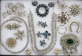 Rhinestone Costume Jewelry 22 Pieces