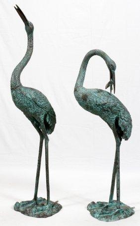 Bronze Garden Sculptures Pair