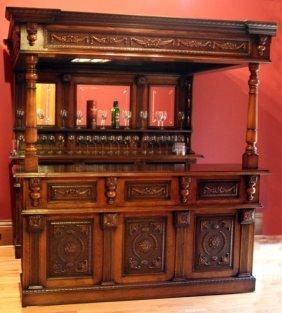 Carved Mahogany & Burled Walnut Bar