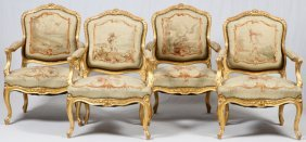 French Louis Xv Style Aubusson Armchairs 19th C.
