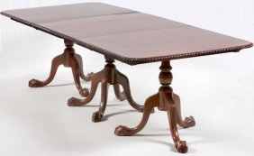 Chippendale Style Mahogany 3 Pedestal Banquet Table