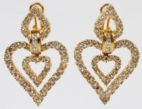Diamond & 18kt Yellow Gold Heart Dangle Earrings